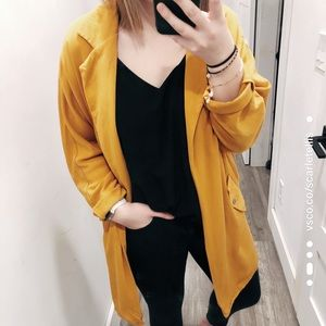 Forever 21 Yellow Loose Fitted Blazer
